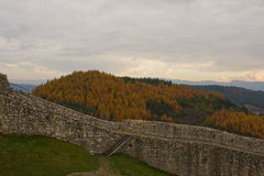 Spis castle in slovakia. Forest Royalty Free Stock Photos