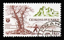 Spis castle& x28;Slovakia& x29; and Angler, Tourist traffic in Czechoslova. MOSCOW, RUSSIA - AUGUST 18, 2018: A stamp printed in Czechoslovakia shows Spis castle stock photo