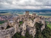 Spis castle slovakia. The Spis Castle - Spissky hrad National Cultural Monument UNESCO - Spis Castle - One of the largest castle in Central Europe Slovakia stock photo
