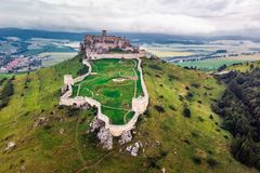 Spis castle slovakia. The Spis Castle - Spissky hrad National Cultural Monument UNESCO - Spis Castle - One of the largest castle in Central Europe Slovakia stock images