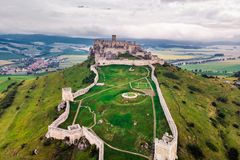 Spis castle slovakia. The Spis Castle - Spissky hrad National Cultural Monument UNESCO - Spis Castle - One of the largest castle in Central Europe Slovakia royalty free stock photography
