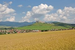 Spis castle , Slovakia. Spis castle and town Spisske Podhradie in the northern Slovakia stock photos