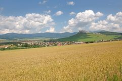 Spis castle , Slovakia. Spis castle and town Spisske Podhradie in the northern Slovakia stock photo
