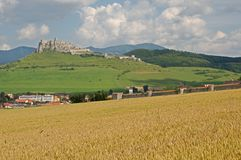 Spis castle , Slovakia. Spis castle and town Spisske Podhradie in the northern Slovakia royalty free stock images