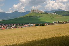 Spis castle , Slovakia. Spis castle and town Spisske Podhradie in the northern Slovakia stock image