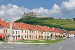 Spis castle , Slovakia. Spis castle and town Spisske Podhradie in the northern Slovakia royalty free stock image