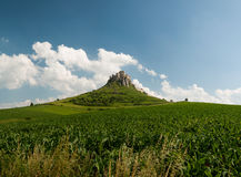 Spis castle, Spišské Podhradie. Spis castle view from flield royalty free stock photography