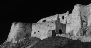 Spis Castle Spišský hrad Exterior view black and white. The ruins of Spiš Castle in eastern Slovakia form one of the largest castle sites in Central royalty free stock photography