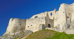 Spis Castle Spišský hrad Exterior view 4. The ruins of Spiš Castle in eastern Slovakia form one of the largest castle sites in Central Europe. The stock photos