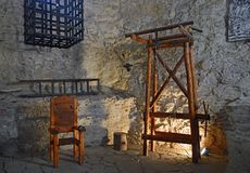 Spis Castle Spišský hrad interior view - museum of torture. Instruments of torture at torture museum in Spis Castle. The ruins of Spiš Castle in eastern royalty free stock photo