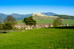 Spis castle and Spisske Podhradie. Village in Slovakia, Europe royalty free stock photography