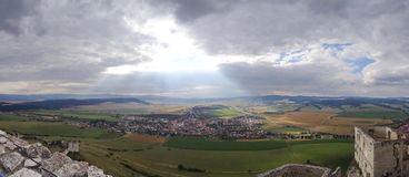 Spis Castle / Spissky hrad, Slovakia. Inside the walls of Spis Castle with panorama of meadows - Spissky hrad National Cultural Monument (UNESCO) ruins of stock images