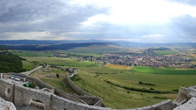 Spis Castle / Spissky hrad, Slovakia. Inside the walls of Spis Castle with panorama of meadows - Spissky hrad National Cultural Monument (UNESCO) ruins of stock photos