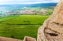 Spis hrad view from the castle. Spis hrad view from the walls and tower of castle in Slovakia royalty free stock photography