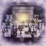 Spis på natten med gåvor på trägolv royaltyfri illustrationer