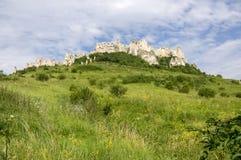 Spis-Schloss auf grünem Hügel in Slowakei lizenzfreie stockfotografie