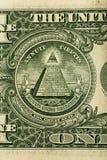 Spisek teorii pojęcie Wszystkie Widzii ostrosłup na usa dolara banknocie i oko obraz royalty free