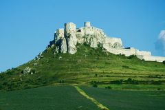 Spisky Castle. Photo of a largest medieval fort in central Europe. (Spisky castle in Slovakia stock images