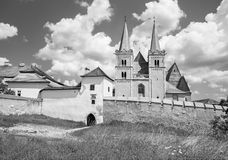 Spisska Kapitula - Saint Martins gothic cathedral and wall of fortness from west. Stock Photography