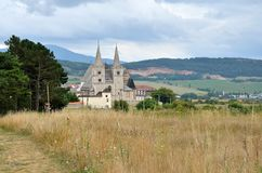 Spisska Kapitula, Slovakia. St. Martin's Cathedral with rural landscape in the background in Spisska Kapitula, Slovakia royalty free stock photography