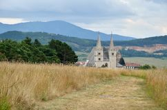 Spisska Kapitula, Slovakia. St. Martin's Cathedral with rural landscape in the background in Spisska Kapitula, Slovakia stock images