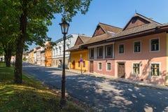 Spisska Sobota, Eslovaquia 11 de agosto de 2015 Casas viejas foto de archivo libre de regalías