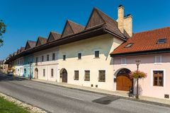 Spisska Sobota, Eslovaquia 11 de agosto de 2015 Casas viejas fotografía de archivo