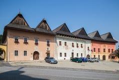 Spisska Sobota, Eslovaquia 11 de agosto de 2015 Casas viejas imagenes de archivo