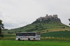 Spisske Podhradie, Slovakia, 6th. July 2018 Eurobus. Spisske Podhradie in Slovakia 6th. July, 2018 Eurobus under Spissky Castle stock image