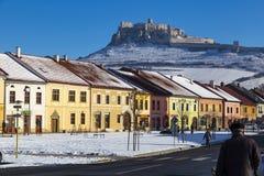 Spisske Podhradie and Spissky Hrad Spis Castle, Slovakia. December 30, 2016: ancient city Spisske Podhradie, SLOVAKIA - historic city center, old colorful houses royalty free stock photo