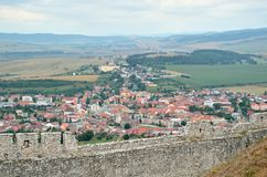 Spisske Podhradie Town. View from Spissky Hrad Castle on a Spisske Podhradie Town royalty free stock images