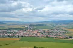 Spisske Podhradie Town. View from Spissky Hrad Castle on a Spisske Podhradie Town in Slovakia stock photo