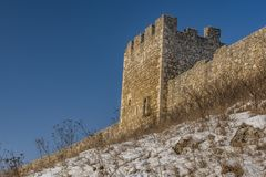 Spissky castle in east Slovakia in nice winter sunny day from down royalty free stock image