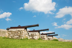 Spissky castle - Look to guns from down castle Royalty Free Stock Images