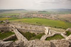 Spissky castle - Look from tower to south and royalty free stock photography