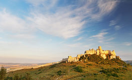 Spissky Castle, Slovakia. Ruin of Spissky Castle in Slovakia at sunrise stock photography