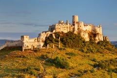 Spissky Castle, Slovakia. Ruin of Spissky Castle in Slovakia at sunrise royalty free stock photos
