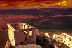 Spissky castle at sunset Royalty Free Stock Photography