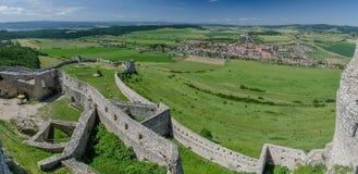Spissky castle vista point, Slovakia. Panoramic view from Spisky castle vista point, Slovakia royalty free stock photos