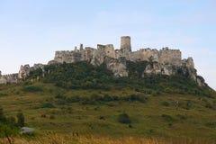 Spissky hrad或斯皮城堡看法在斯洛伐克 免版税库存图片