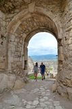 Spissky Hrad, Slovakia. SPISSKY HRAD, SLOVAKIA - AUGUST 18, 2015: Tourists on ruins castle Spissky Hrad, Slovakia royalty free stock images