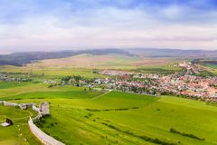 Spissky hrad village and castle fortifications. Spissky hrad village panorama and fortifications from the castle in Slovakia High Tatars region stock images