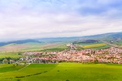 Spissky hrad village panorama. From the castle in Slovakia High Tatars region royalty free stock photo