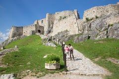 Spissky-Schloss - schauen Sie vom mittleren Hof Stockbild
