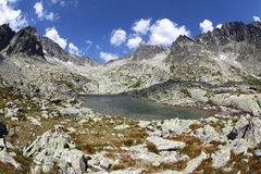 5 Spisskych一层- tarns在高Tatras,斯洛伐克 图库摄影