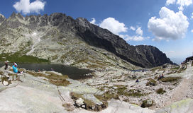 5 Spisskych一层- tarns在高Tatras,斯洛伐克 免版税库存照片