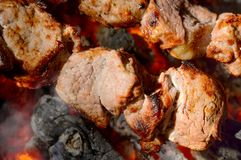 Spit roast pork kebabs on the hot Flaming. BBQ grill close-up Stock Photos