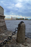 The Spit of Vasilievsky Island. Panorama of the Neva River and the Spit of Vasilievsky Island (Russia, Saint-Petersburg Royalty Free Stock Photos