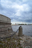 The Spit of Vasilievsky Island. Panorama of the Neva River and the Spit of Vasilievsky Island (Russia, Saint-Petersburg Stock Image