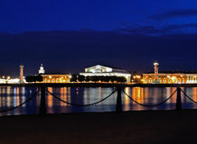 Spit of Vasilievsky Island  (Saint-Petersburg, Rus. Spit of Vasilievsky Island at night Royalty Free Stock Photo